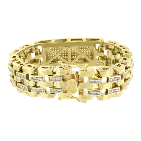 Stainless Steel ID Design Bracelet Lab Diamonds 14K Yellow Gold Finish Designer