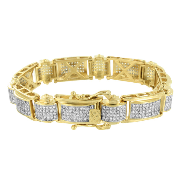 14K Gold Tone Bracelet Lab Diamonds Stainless Steel 316 Tarnish Free Micro Pave