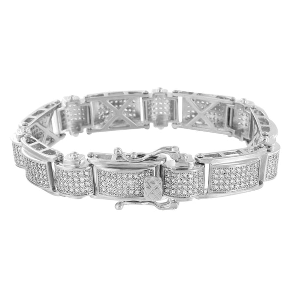 White Gold Bracelet Mens Lab Diamonds On Sale 14k Finish Over Stainless Steel