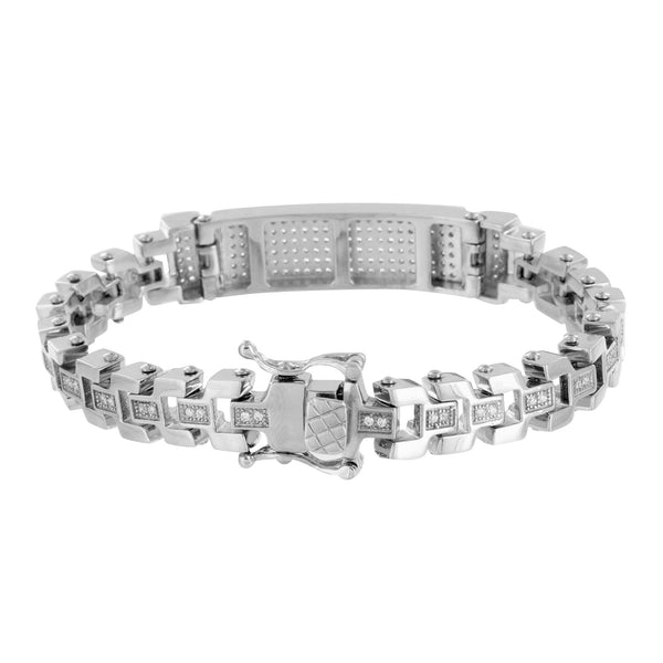 Motorcycle Style Link Bracelet ID Design Lab Diamond White Tone Stainless Steel