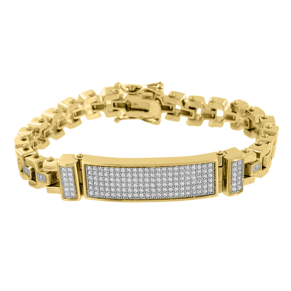 Stainless Steel ID Bracelet 14k Yellow Gold Finish Lab Diamonds Micro Pave 8.5
