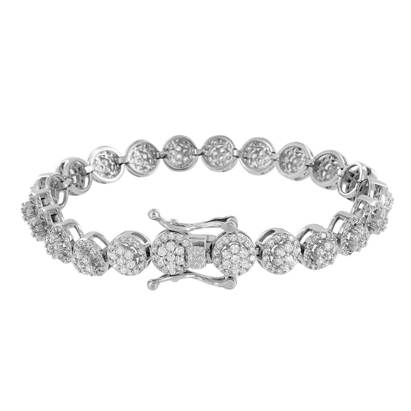 Stainless Steel Mens Bracelet Round Link Cluster Lab Diamond 14K White Gold Tone