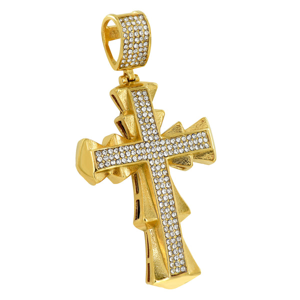 Yellow Gold Finish Designer Cross Charm Chain Set Lab Diamond