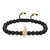 Designer Armour Head Matte Beaded 14k Gold Finish Charm Black Bracelet