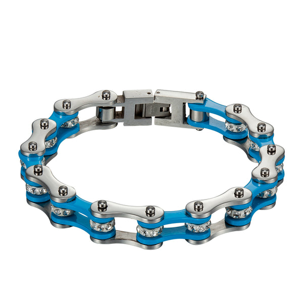 Motorbike Link Chain Bracelet Stainless Steel Blue White 10 MM Mens Custom Made