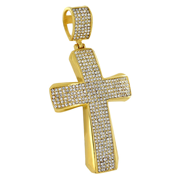Cross Pendant Stainless Steel Jesus Charm Simulated Diamonds Gold Finish