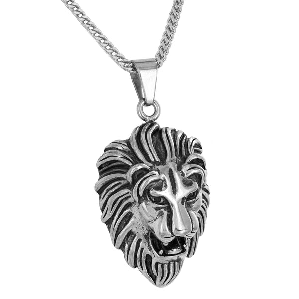 Stainless Steel Lion Head Pendant Free Franco Necklace White Designer Animal