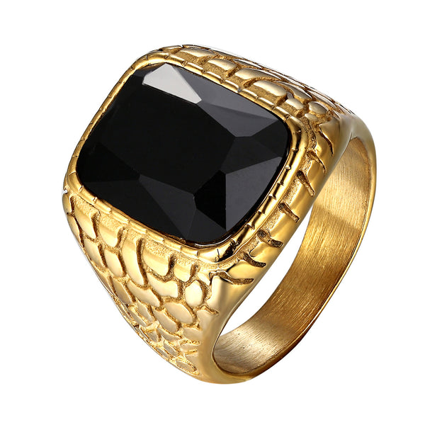 Black Onyx Stone Mens Ring Nugget Design Gold Tone