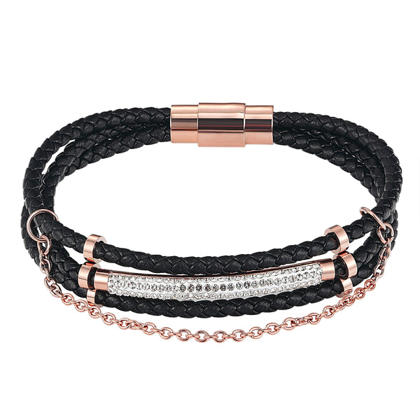 14k Rose Gold Finish Designer ID Bar Iced Out Black Leather Woven Wrap Bracelet Magnetic Clasp