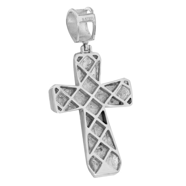 Mens Cross Pendant Franco Necklace Simulated Diamonds Stainless Steel Crucifix