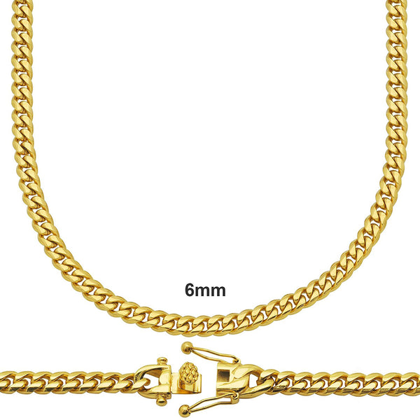 14k Gold Finish Miami Cuban Necklace 6mm 22