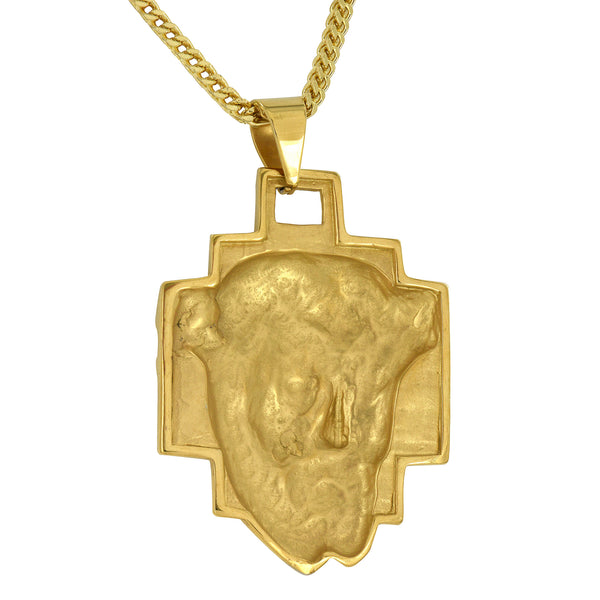 Gold Jesus Christ Pendant Unique Style Stainless Steel Franco Necklace Set Mens