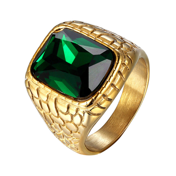 Green Lab Diamond Mens Ring Nugget Style Steel
