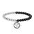 Men's Beaded Bracelet Religious Om Mantra Matte Black White Bead