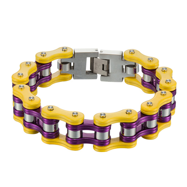 Motorbike Link Chain Bracelet Yellow Purple Stainless Steel Custom Designer Mens