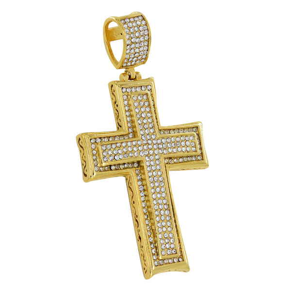 Gold Finish Cross Pendant Simulated Diamonds Solid Stainless Steel Charm