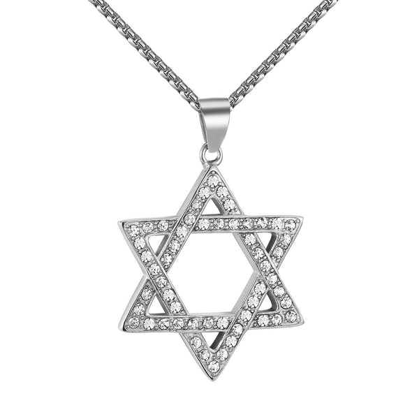 Star Of David Pendant Stainless Steel Simulated Diamonds Free Necklace