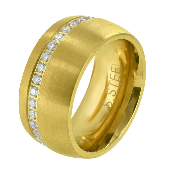 Men's Stainless Steel One Row Iced Out 14k Gold Finish Lab Diamonds Ring Band
