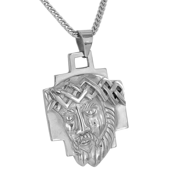 Jesus Christ Pendant White Stainless Steel Franco Necklace Custom Piece Charm