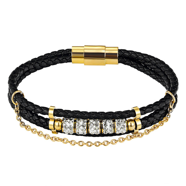 14k Gold Finish Black Leather Braided Designer Solitaire Wrap Bracelet Magnetic Clasp