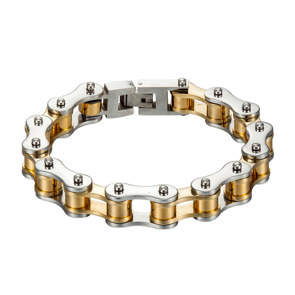 Motorcycle Chain Link Bracelet White / Gold Finish Stainless Steel Custom Design