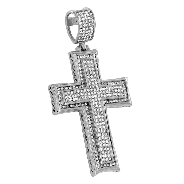 White Cross Pendant Stainless Steel Mens Custom Simulated Diamonds New