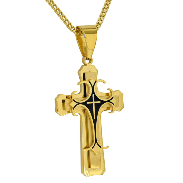 Celtic Design Cross Pendant Jesus Chain Black PVD Gold Finish Stainless Steel