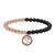 Men's Designer Bead Bracelet 14k Rose Gold Finish Religious Om Mantra Charm Matte Black