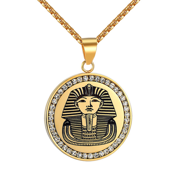 Stainless Steel Egyptian Pharaoh Coin Style Pendant Free Necklace 24 Inch Iced