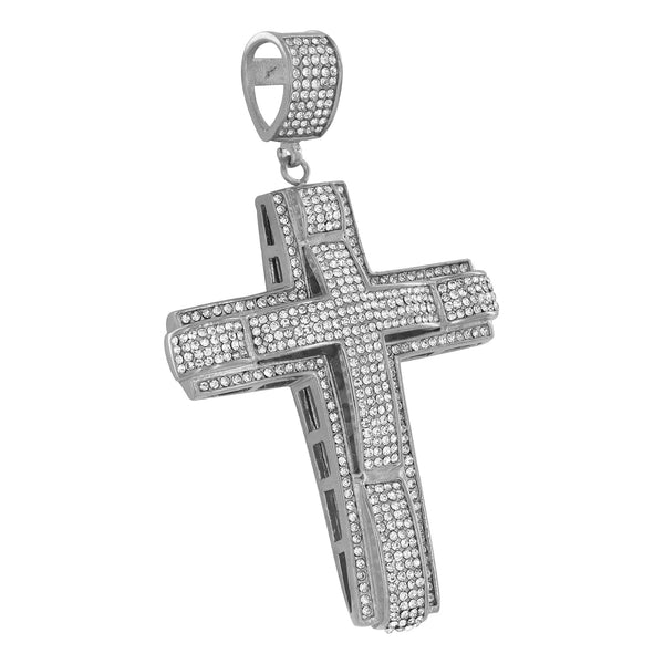 Jesus Cross Pendant Simulated Diamonds White Stainless Steel Mens Celeb Wear