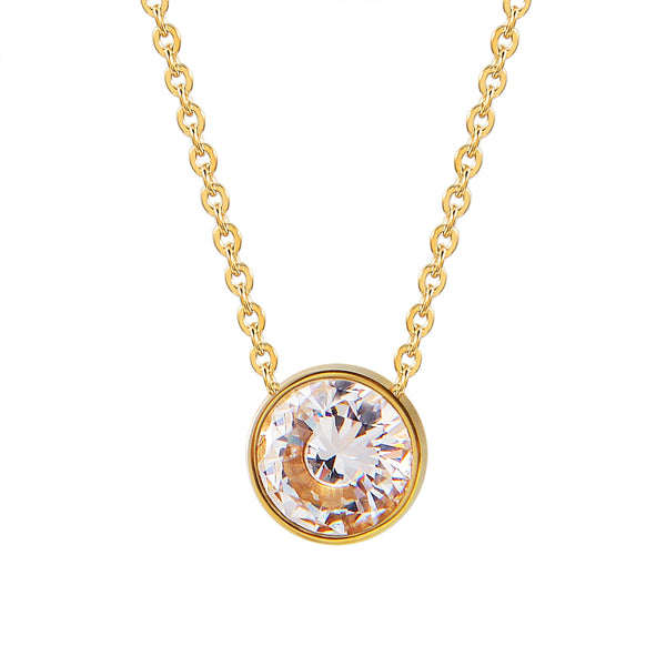 Dainty Choker Solitaire CZ Charm Gold Finish Stainless Steel Pendant Womens 0.3 Inch