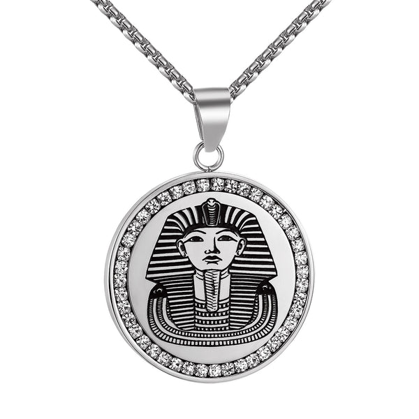 Egyptian Pharaoh Pendant Simulated Diamond Stainless Steel Round Charm Necklace