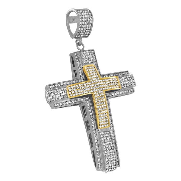 2 Tone Cross Pendant Stainless Steel Simulated Diamonds Franco Necklace Chain