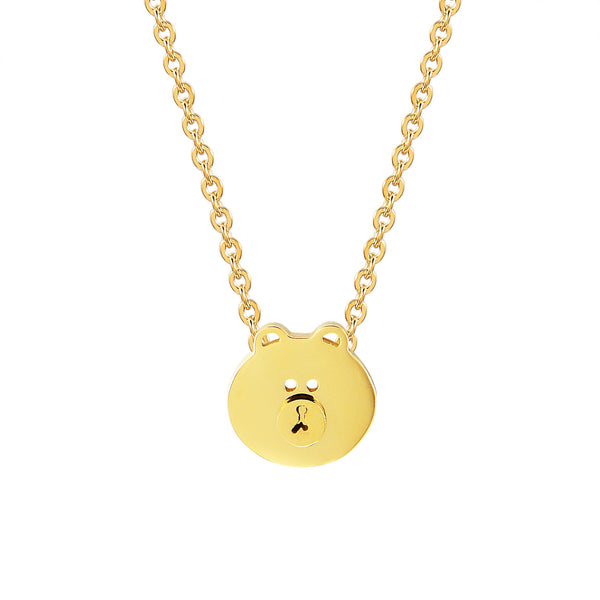 Teddy Bear Choker Charm Chain 14k Gold Finish Stainless Steel 0.4