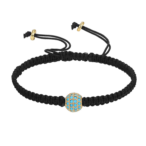 Elegant Black Braided 14k Gold Finish Light Blue simulated diamond Charm Bracelet