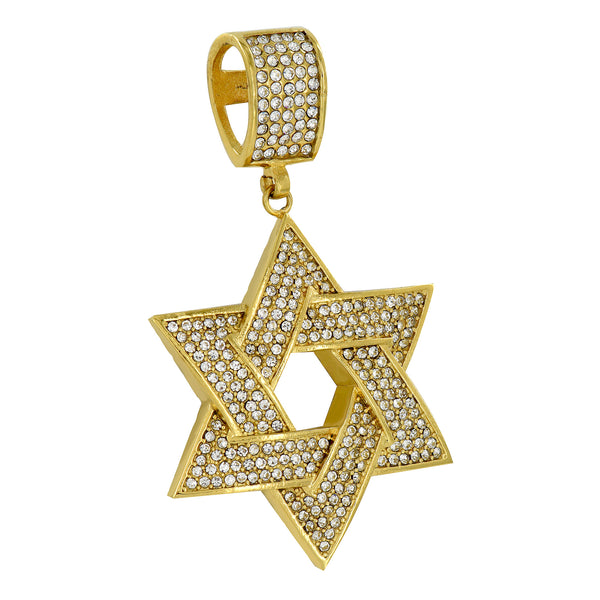 Star Of David Pendant Gold Finish Simulated Diamonds Stainless Steel Custom
