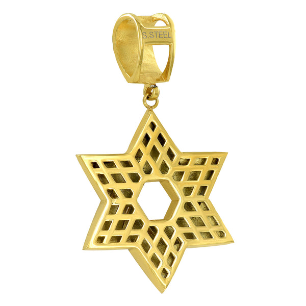 Star Of David Pendant Gold Over Solid Stainless Steel Simulated CZ Franco Chain