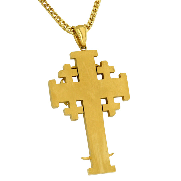 Gold Celtic Cross Pendant Designer Simulated Diamonds Stainless Steel Necklace