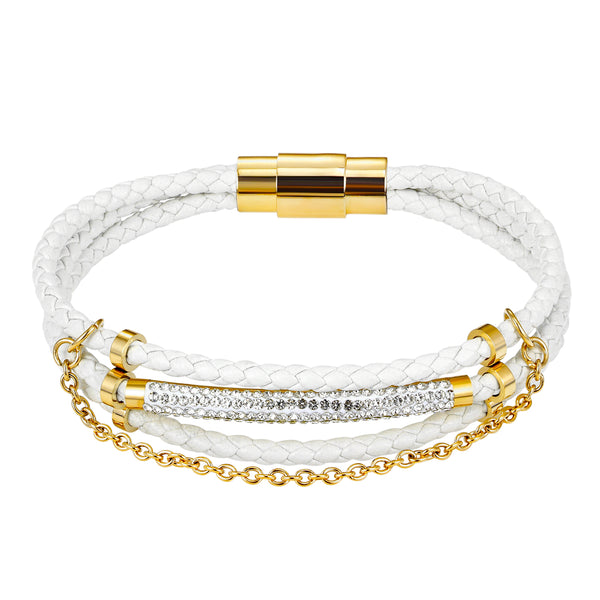 Designer ID Bar Iced Out 14k Gold Finish White Elegant Woven Bracelet Magnetic Clasp