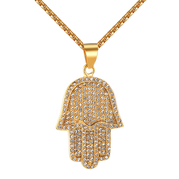 Iced Out Men 14k Gold Finish Hamsa Hand Stainless Steel Pendant 24