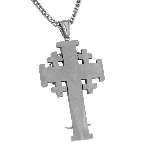 Designer Cross Pendant Simulated Diamonds Franco Necklace Stainless Steel Classy