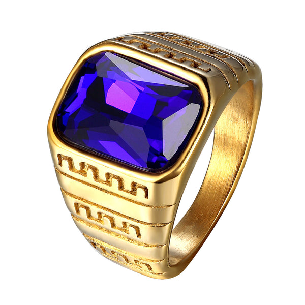 Blue Solitaire Mens Ring Stainless Steel Gold Tone
