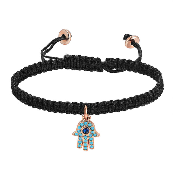 Black Braided Woven 14k Rose Gold Finish Bracelet Hamsa Hand Turquoise Design Charm