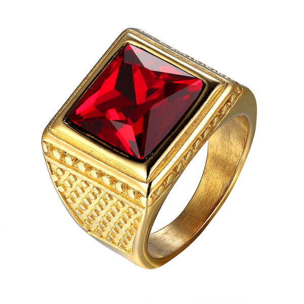 Red Solitaire Stone Mens Ring 14k Gold Tone