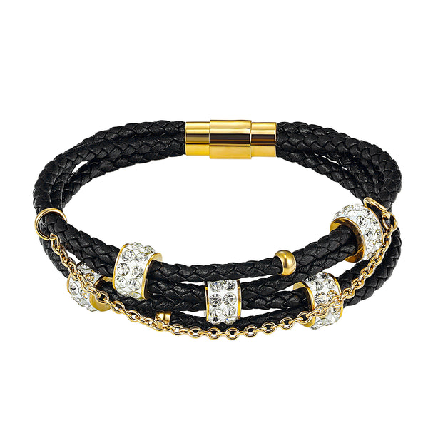 14k Gold Finish Designer Black 3 row Braided Iced Out Charm Bracelet Magnetic Clasp