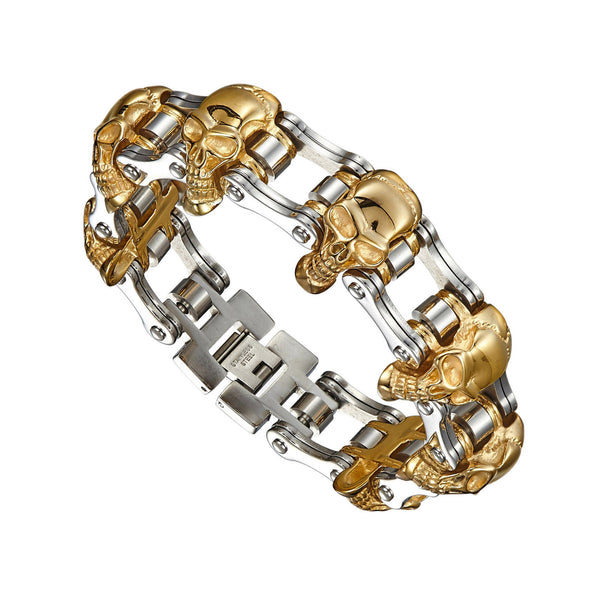 Skull Face Link Bracelet Rose Gold Finish Rhodium Finish Stainless Steel Custom