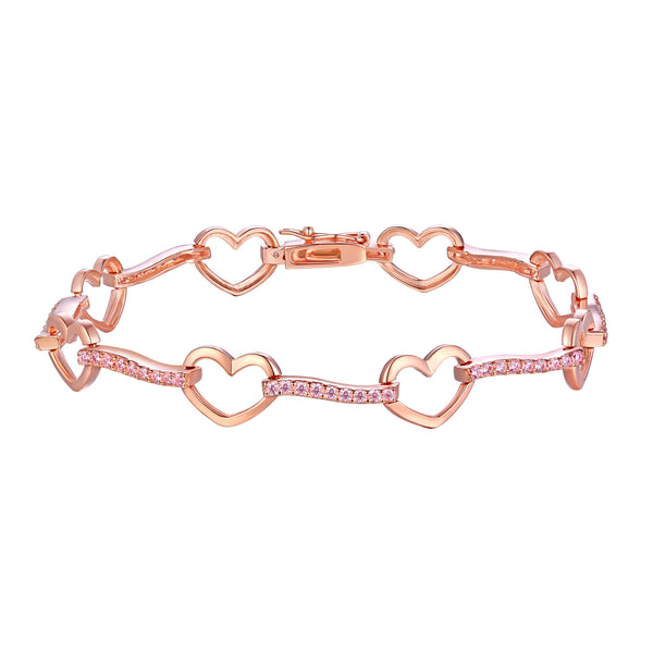 Heart Link Ladies Bracelet Rose Gold Finish With Pink Stone