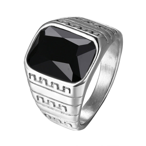 Black Stone Ring Mens Stainless Steel Silver Tone