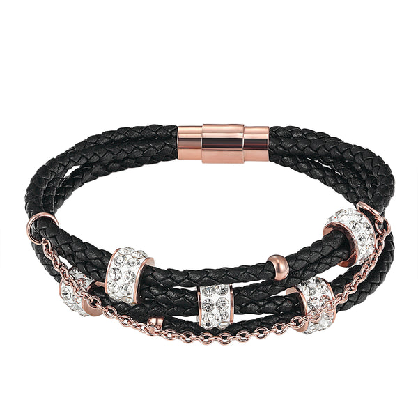Designer Black 3 row Braided Iced Out Charm Bracelet 14k Rose Gold Finish Magnetic Clasp