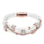 White Leather Woven Iced Out Charm Bracelet 14k Rose Gold Finish Magnetic Clasp